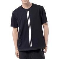ブラックバレット BLACKBARRETT バイニールバレット by neil barrett ダブルストライプクルーネックイージーフィットTシャツ コットン ブラック