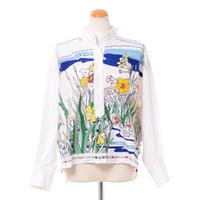 ミー Mii 立ち襟刺繍長袖ブラウス コットン ホワイト
