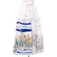 ミー Mii 刺繍ロングスカート コットン ホワイト