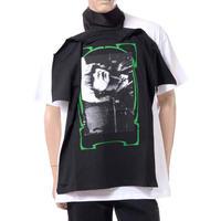 ラフシモンズ RAF SIMONS スカーフTシャツ ヴィスコース ブラック