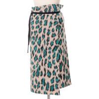 エムエムシックス メゾンマルジェラ MM6 MAISON MARGIELA 巻きスカート ウール混合 ベージュレオパード