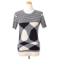 ミッソーニ Missoni ラウンドネック半袖セーター 羊毛 ブラックホワイトミックス