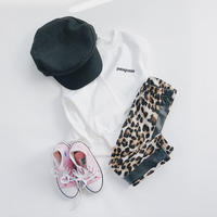 KIDS★leather line leopard leggings