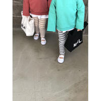 kids★brown beige border  leggings