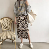 【ladies】corduroy leopard tight skirt