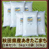 平成30年 秋田県産 あきたこまち白米セット (5kg×6袋)30kg