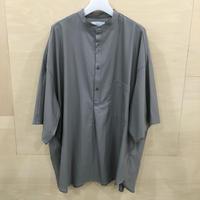 Graphpaper / GM201 50043 / Silk Wool Stand Collar York Short Sleeve Shirt (GRAY)
