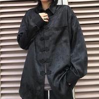 サテンチャイナシャツ(black)