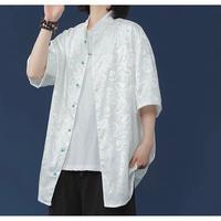 ビーズボタンチャイナシャツ white