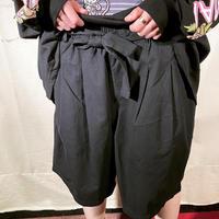 ribbon-belt black half pant