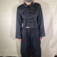 クロップドチャイナシャツ black