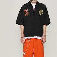 中国城龍虎刺繍シャツ