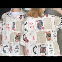 ネコトランプ総柄シャツ