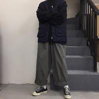 grey straight wide pants