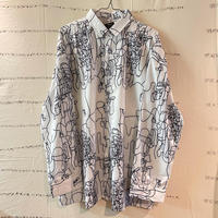 oversize line art  shirt white
