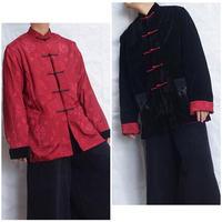 ベロア×サテン リバーシブルチャイナジャケット(RED/black)