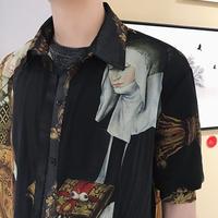 絵画ロング丈シャツ