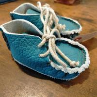 手作り体験キット 青 ブルーイタリア製革で作るベビーシューズ