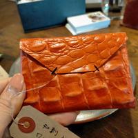 オレンジ 牛革型押し 名刺入れ!
