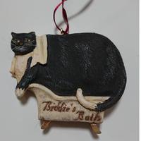 陶製ソックス黒猫オーナメント