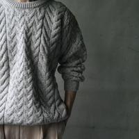 aran woollen millsアラン ウーレンミルズ   /  Cable & Weave Aran Crew  Sweaterニット/ ar-B689