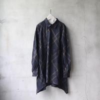 ALEKSANDR MANAMISアレクサンドルマナミス/BLACK W REN CHECKEDロングシャツ/ am-21006