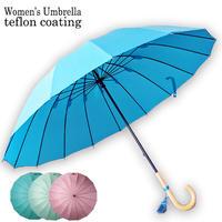 好評の16本傘に女性用登場!超撥水テフロン加工で防水性抜群!レディース16本傘 レディース雨傘 55センチ  女性用 婦人用 長傘 雨傘 おしゃれ タッセル フリンジum5500