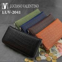 【Luciano Valentino】 ルチアーノバレンチノ 牛革 マットクロコ型押し ラウンドファスナー 内側迷彩 メンズ レディース 長財布 送料無料 luv2041