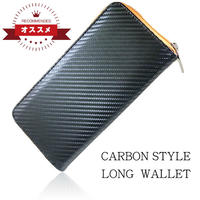 人気のカーボンレザー素材のラウンドウォレット 男性用小物(紳士用小物) 長財布 オレンジ