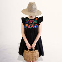 Flower embroidery  cotton one-piece