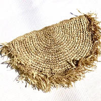 Rafia Clutch Bag   Round