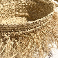 Rafia Fringe Basket  L size