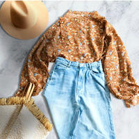 Flowar print blouse -brown-