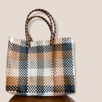 Mercado bag -beige×black check-