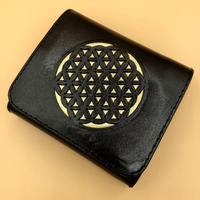 フラワーオブライフ 二つ折りミニタイプ ブラック×ゴールド