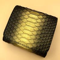 パイソンミニ 二つ折りミニタイプ ブラックG×内側ゴールド
