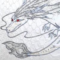 【訳アリ】パイソン RYUEN 白龍 L字ファスナー ホワイト×シルバー 赤い目のドラゴン