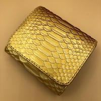パイソン 二つ折りミニタイプ ゴールド×ゴールド