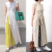 即納/ribbon slit maxi one-piece