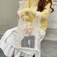 花柄チュールトートバッグ/ホワイト