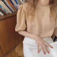 再入荷 gingham check blouse/オレンジ