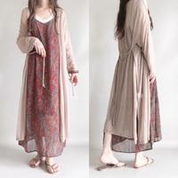 sheer knitsaw long cardigan