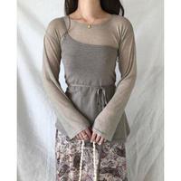 sheer  lib asymmetry camisole set tops