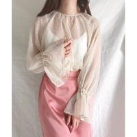 chiffon dot volume sleeve blouse/ベージュ