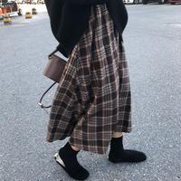 checkd long flare skirt