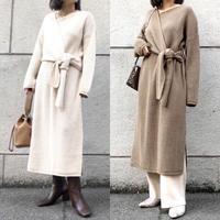 V neck cache-coeur long knit