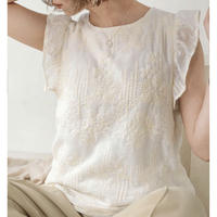 フリル刺繍ノースリブラウス/エクリュ
