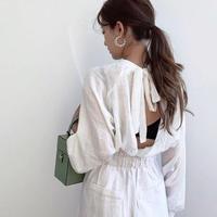 即納/back open ribbon blouse