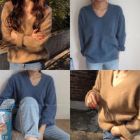 V neck  shaggy  knit/ベージュ