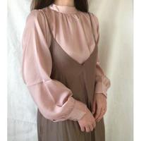 petit high-neck satin blouse
